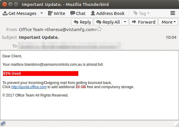 An example showing the format of the phishing message intercepted by MailGuard (Photo - MailGuard)