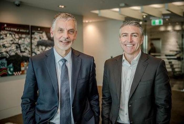 Marko Bogoievski (CEO of Infratil) and Jason Paris (Vodafone)