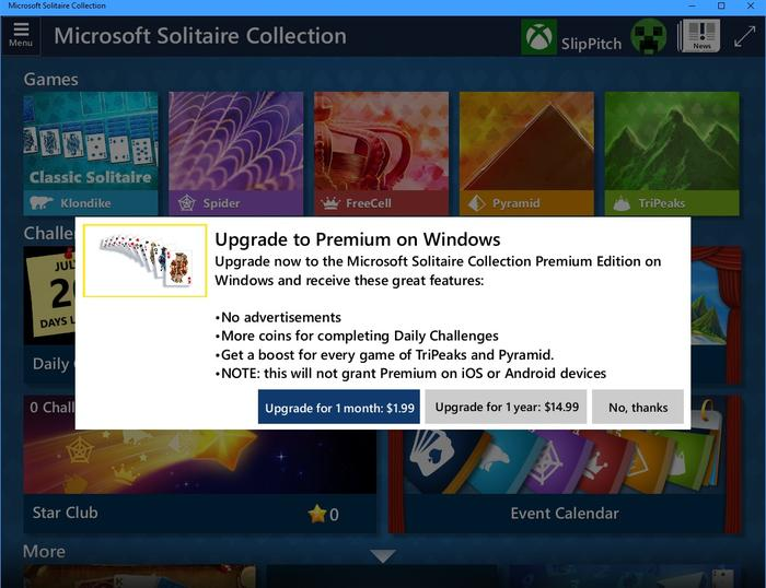 To be fair, killing Solitaire would be the death blow for Microsoft's consumer hopes. But is a subscription for Solitaire that consumer-friendly?