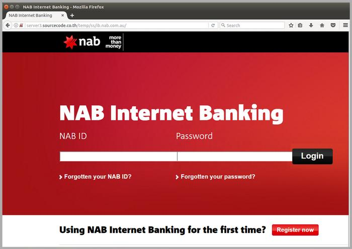 Screenshots of phishing email and fake NAB landing page (Photo - MailGuard)