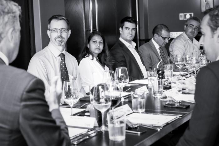 Warren Nolan (rhipe), Tom Mason (Seera), Hafizah Osman (ARN), Ben Town (Hosted Network), George De Bono (rhipe), Nick Beaugeard (HubOne). Photo: Mike Gee