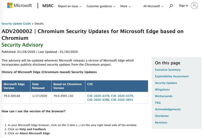 This security advisory is supposed to list all Edge security updates. Comparing the version number of Edge to that of Chrome lets customers monitor whether Microsoft has kept up with Chromium's/Chrome's fixes