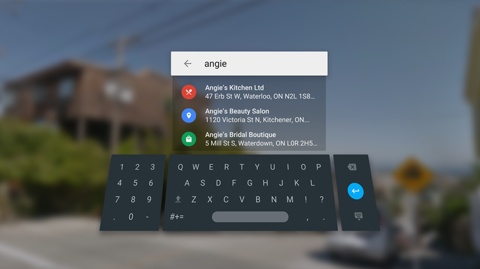 A virtual keyboard from Street View VR app.