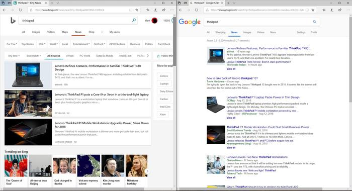 Google is far superior to Bing in terms of information density, as far as news is concerned