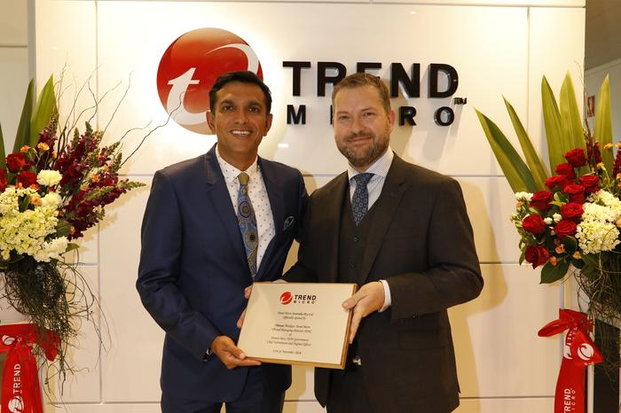 Dhanya Thakkar with NSW Government chief information and digital officer, Dammon Rees, at the opening of Trend Micro's new Sydney office