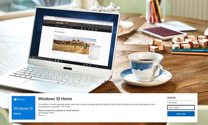 At press time, Microsoft's charging the same amount for a copy of Windows 10 Home that it can send you on a USB, as well as downloading it over the Internet