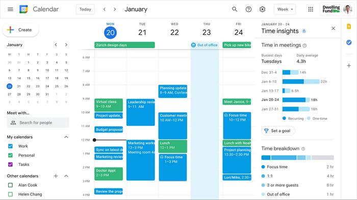 """Worksapce now offers a """"segmentable working hours"""" feature to let users designate when they are online and available for meetings"""