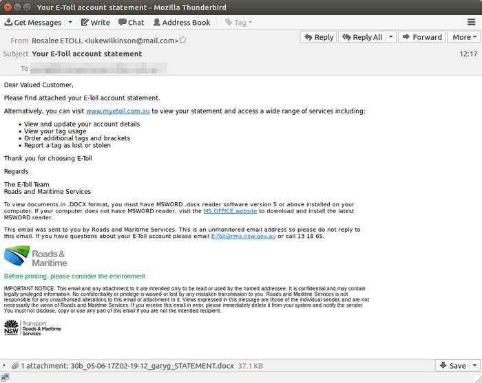 A sample email from the scam campaign (Source: MailGuard)